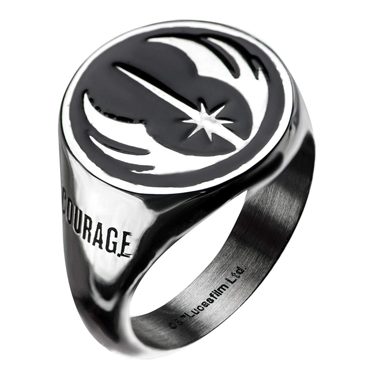 Star Wars Jewelry Men's Stainless Steel Jedi Signet Ring (Silver/Black) - Size 10