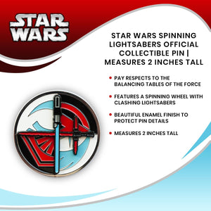 Star Wars Spinning Lightsabers Official Collectible Pin | Measures 2 Inches Tall