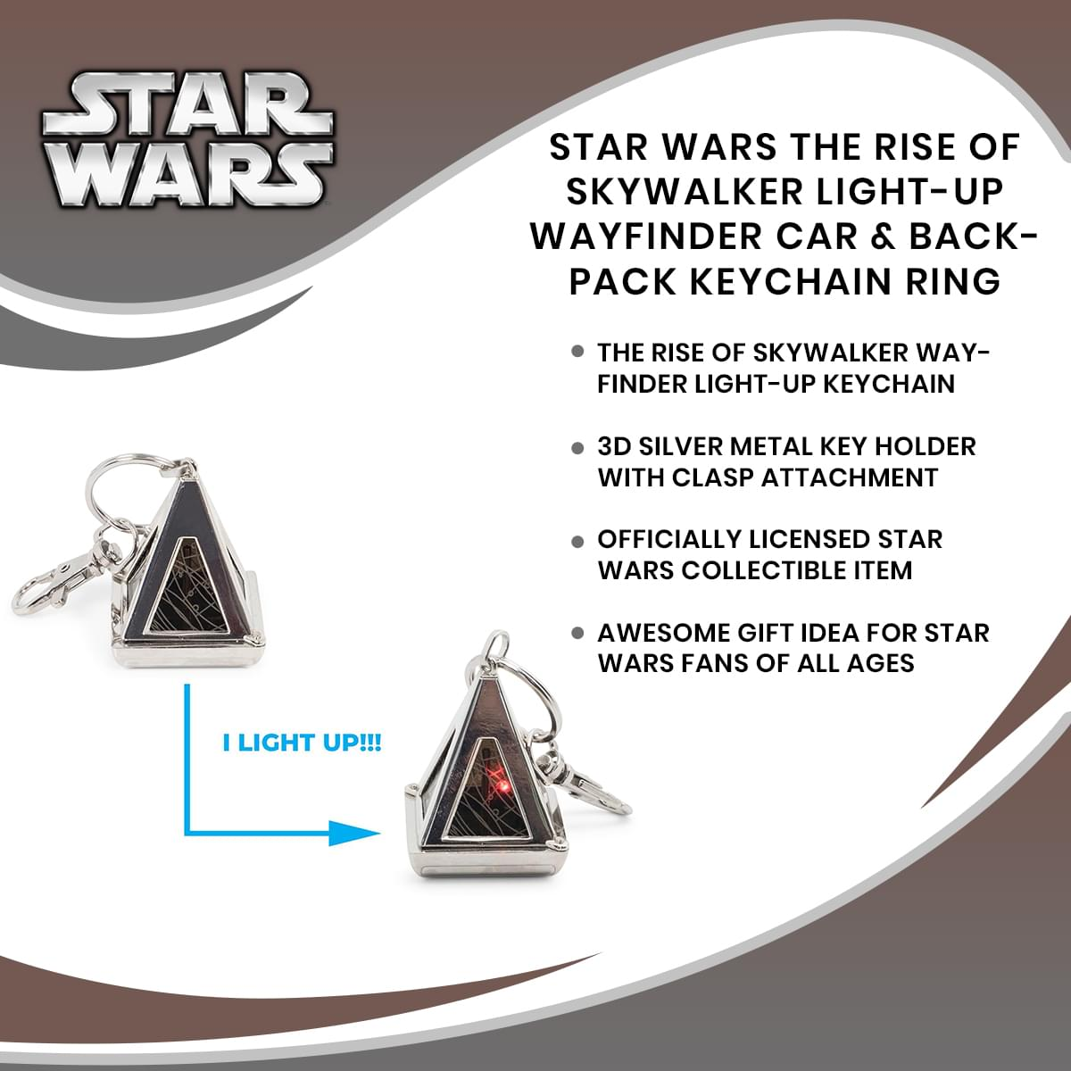Star Wars The Rise of Skywalker Light-Up Wayfinder Car & Backpack Keychain Ring
