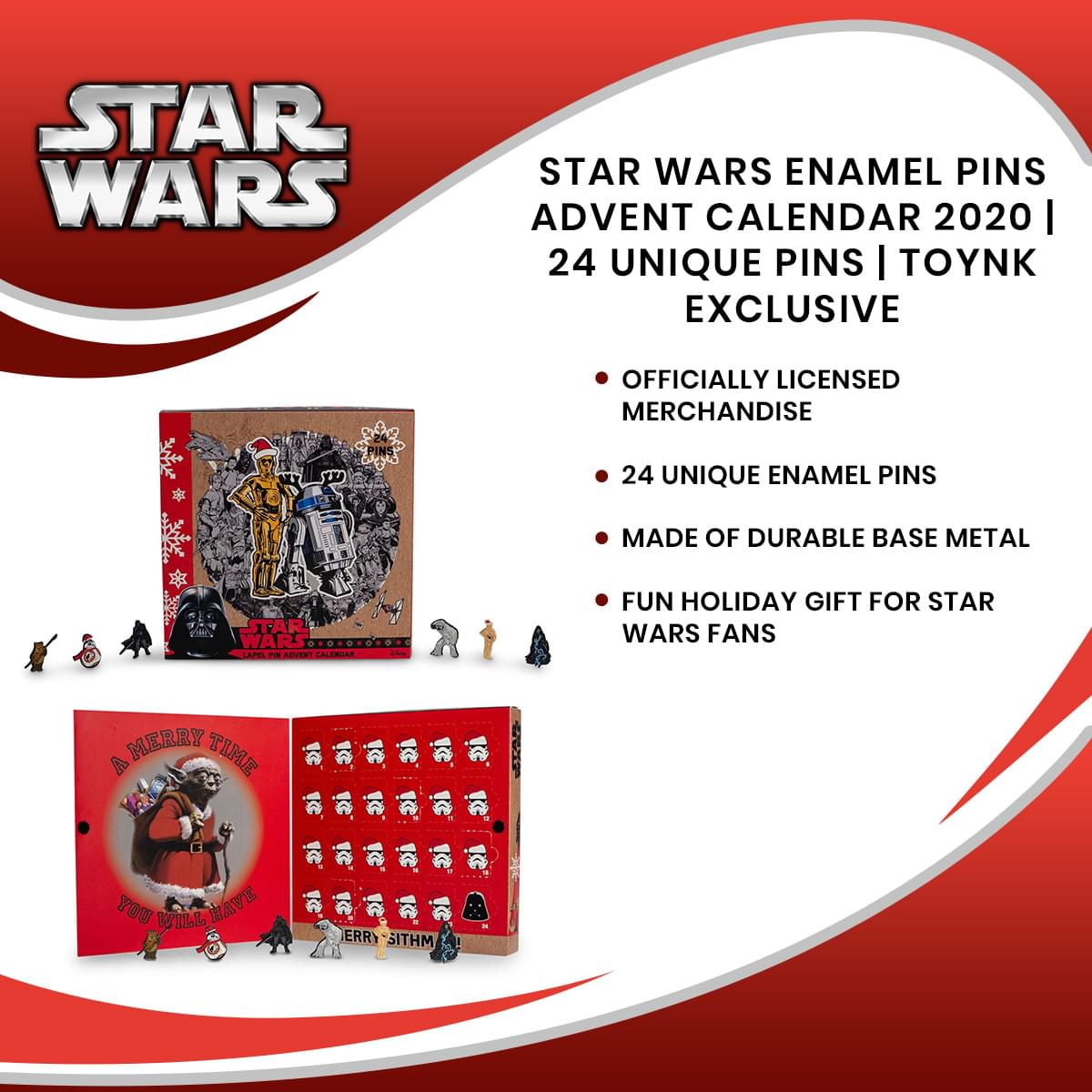 Star Wars Exclusive 2020 Advent Calendar | 21 Enamel Pins, 3 Buttons/Pins