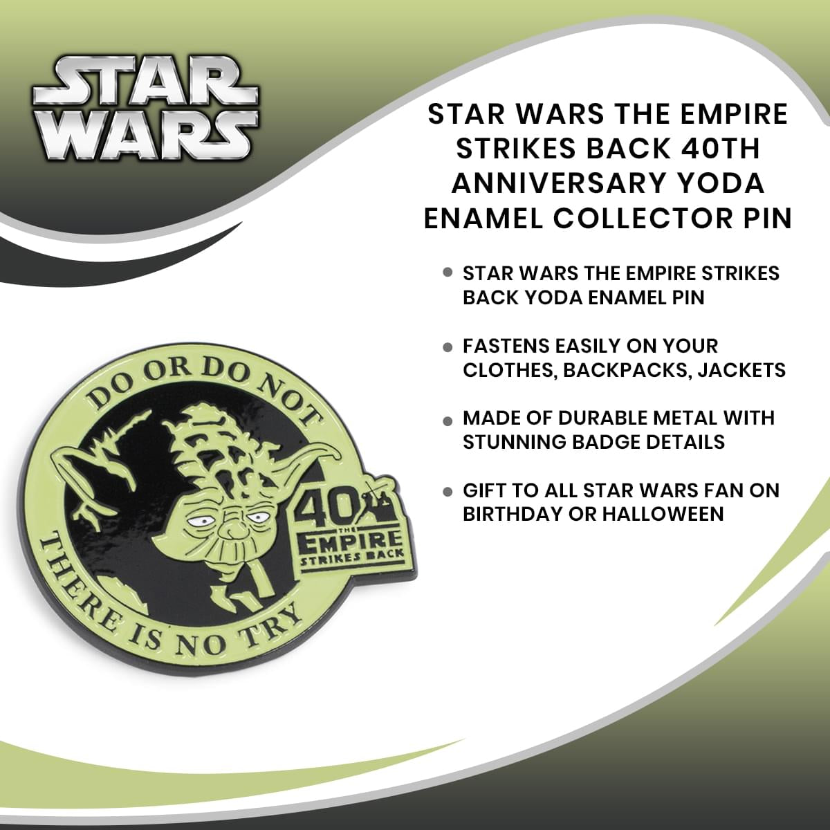 Star Wars The Empire Strikes Back 40th Anniversary Yoda Enamel Collector Pin