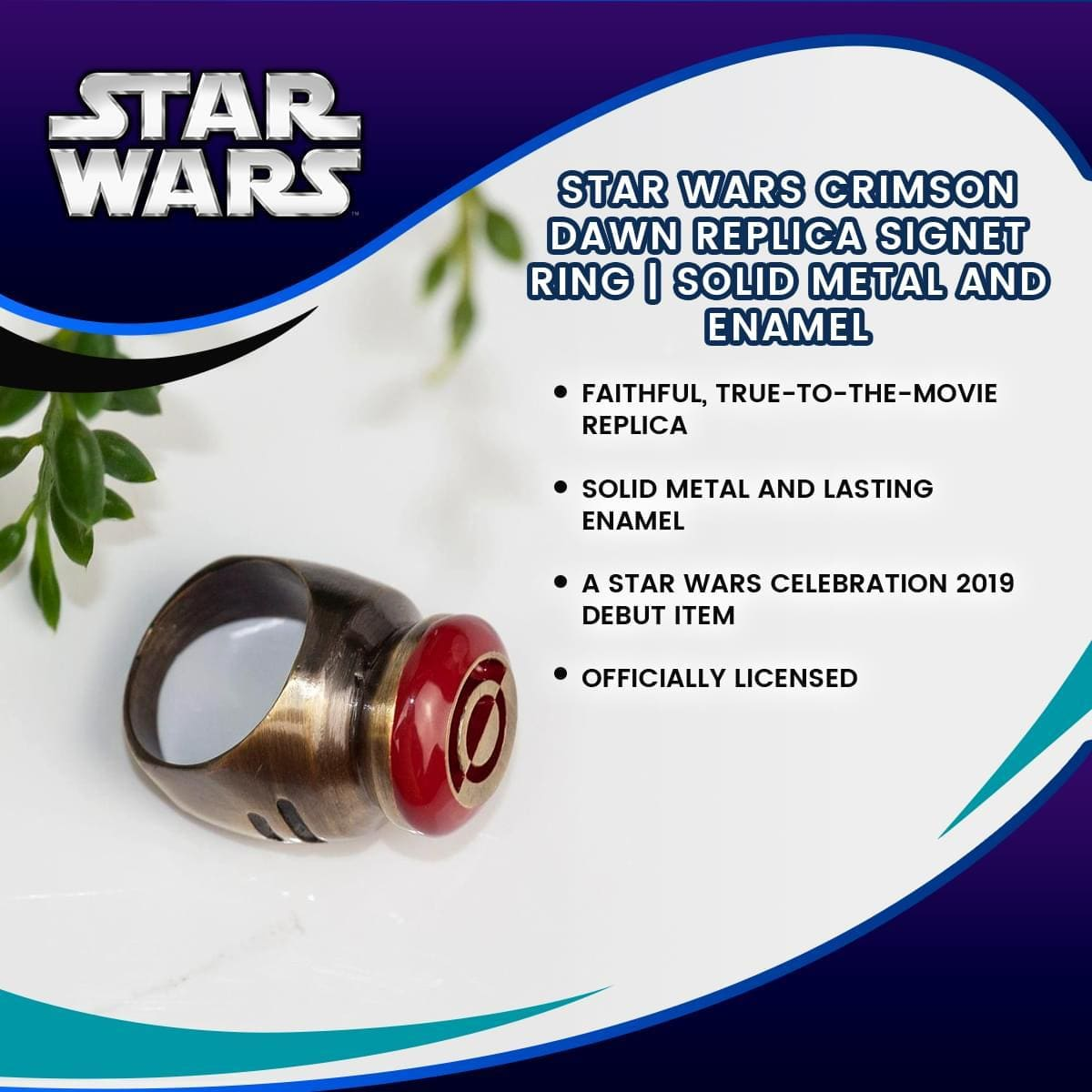 Star Wars Crimson Dawn Replica Signet Ring | Solid Metal and Enamel