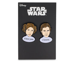 Star Wars Han Solo & Princess Leia Collector Pins | I Love You, I Know Pin Set
