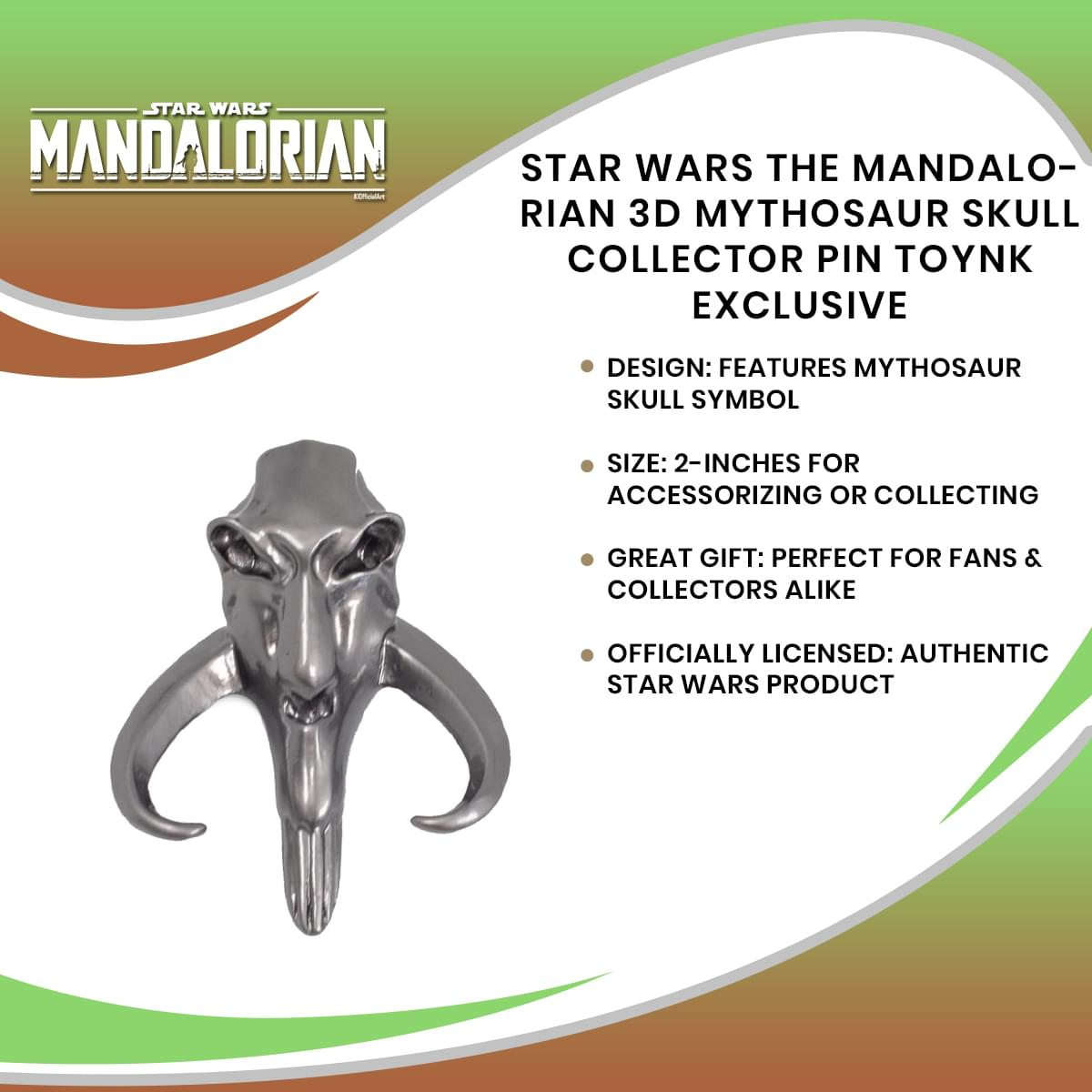 Star Wars The Mandalorian 3D Mythosaur Skull Collector Pin Toynk Exclusive