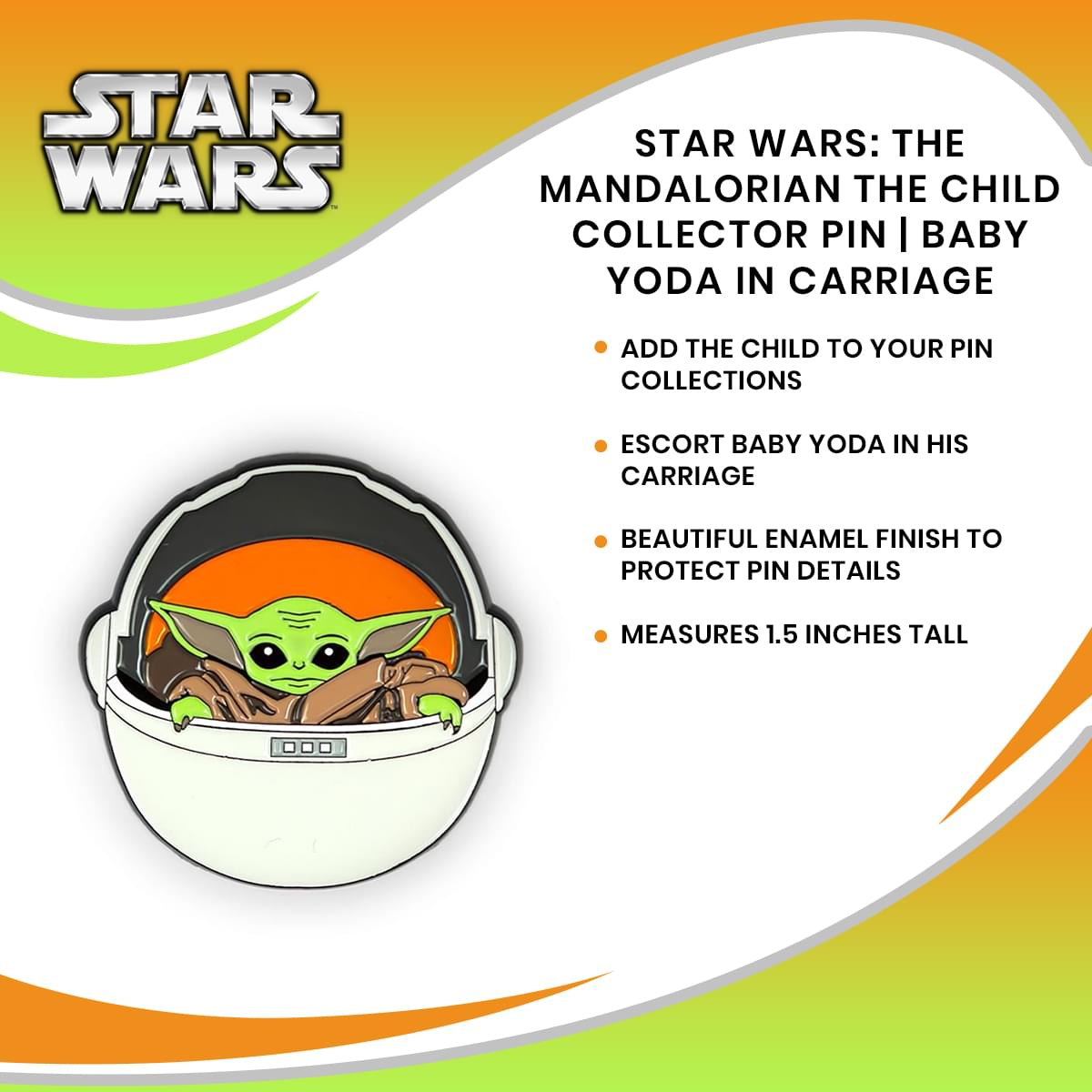 Star Wars: The Mandalorian The Child Collector Pin | Baby Yoda In Carriage
