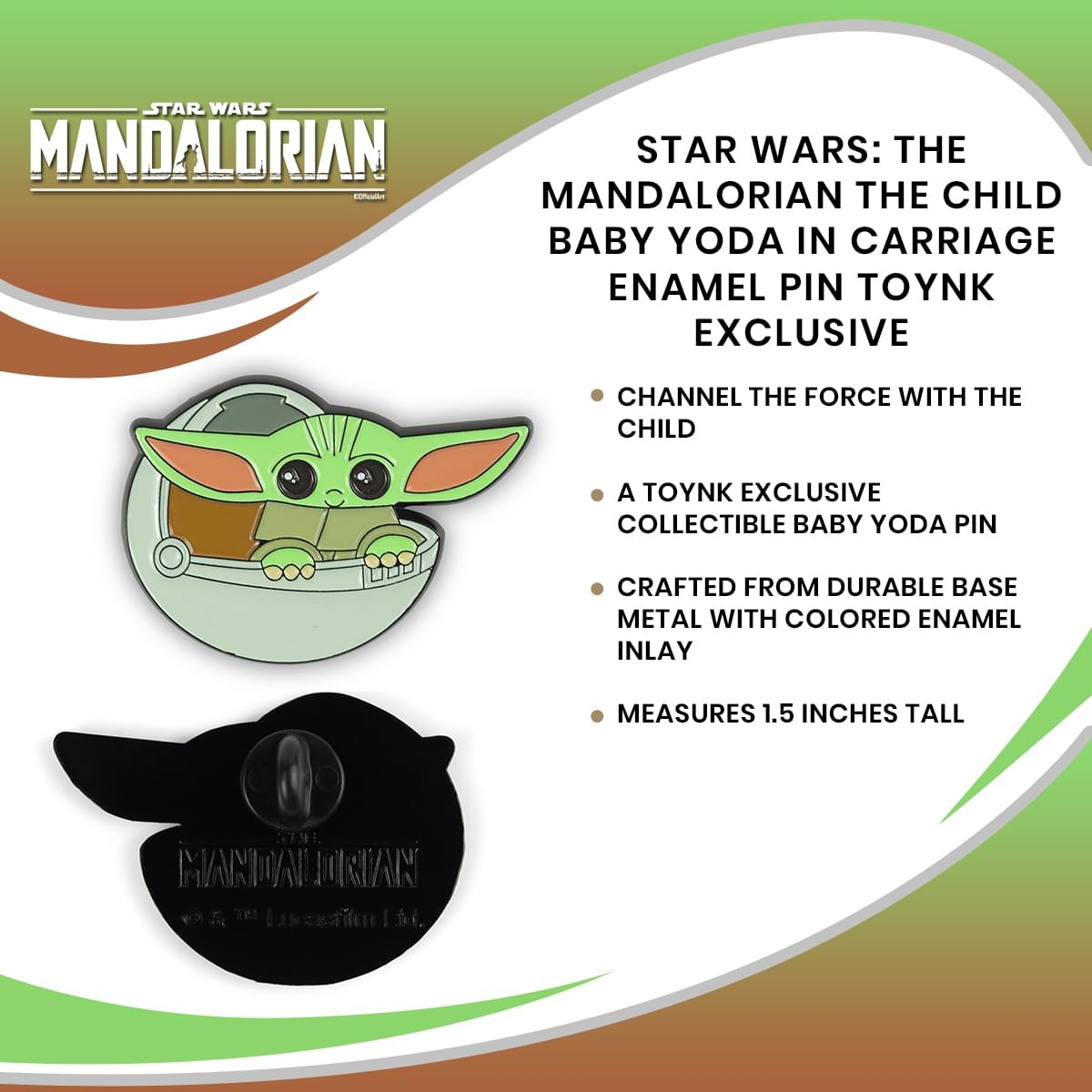 Star Wars: The Mandalorian The Child Baby Yoda In Carriage Enamel Pin Toynk Exclusive