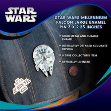 Load image into Gallery viewer, Star Wars Millennium Falcon Large Enamel Pin 3 X 2.25 inches