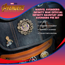 Load image into Gallery viewer, Marvel Avengers: Infinity War Official Infinity Gauntlet and Avengers Pin Set