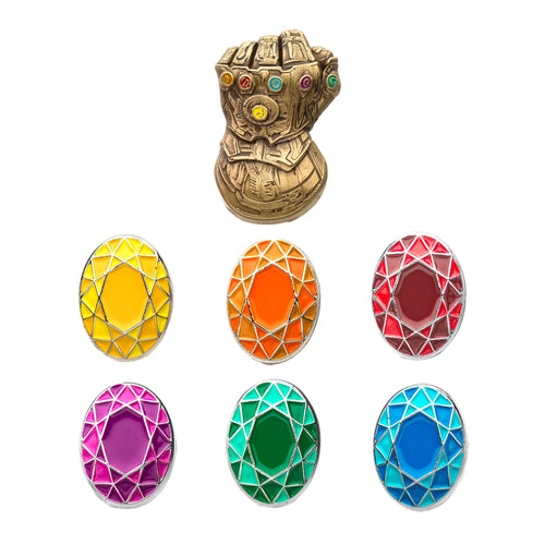 Marvel Infinity Gauntlet and Infinity Stones Enamel Collector Pin Set