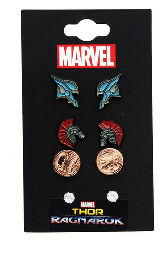 Marvel Thor: Ragnarok Enamel Stud Earrings 4-Pack: Thor, Hulk, Hela