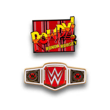 Load image into Gallery viewer, WWE Rowdy Ronda Rousey Collector Pin Set | Exclusive Women's Champion Belt Pin