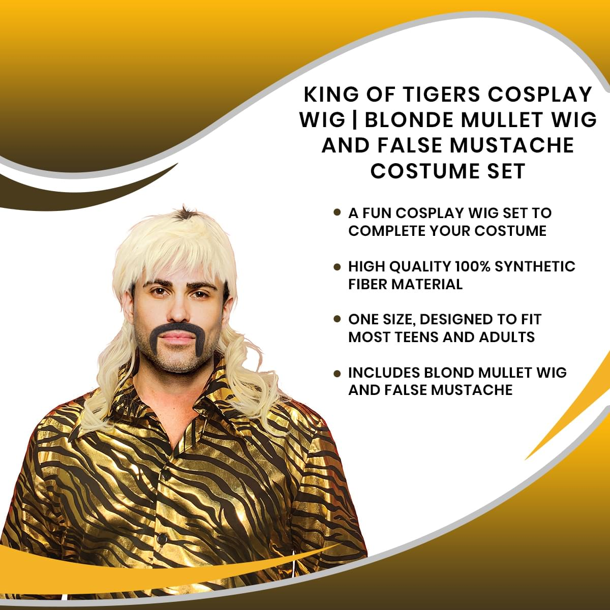 King of Tigers Cosplay Wig | Blonde Mullet Wig and False Mustache Costume Set