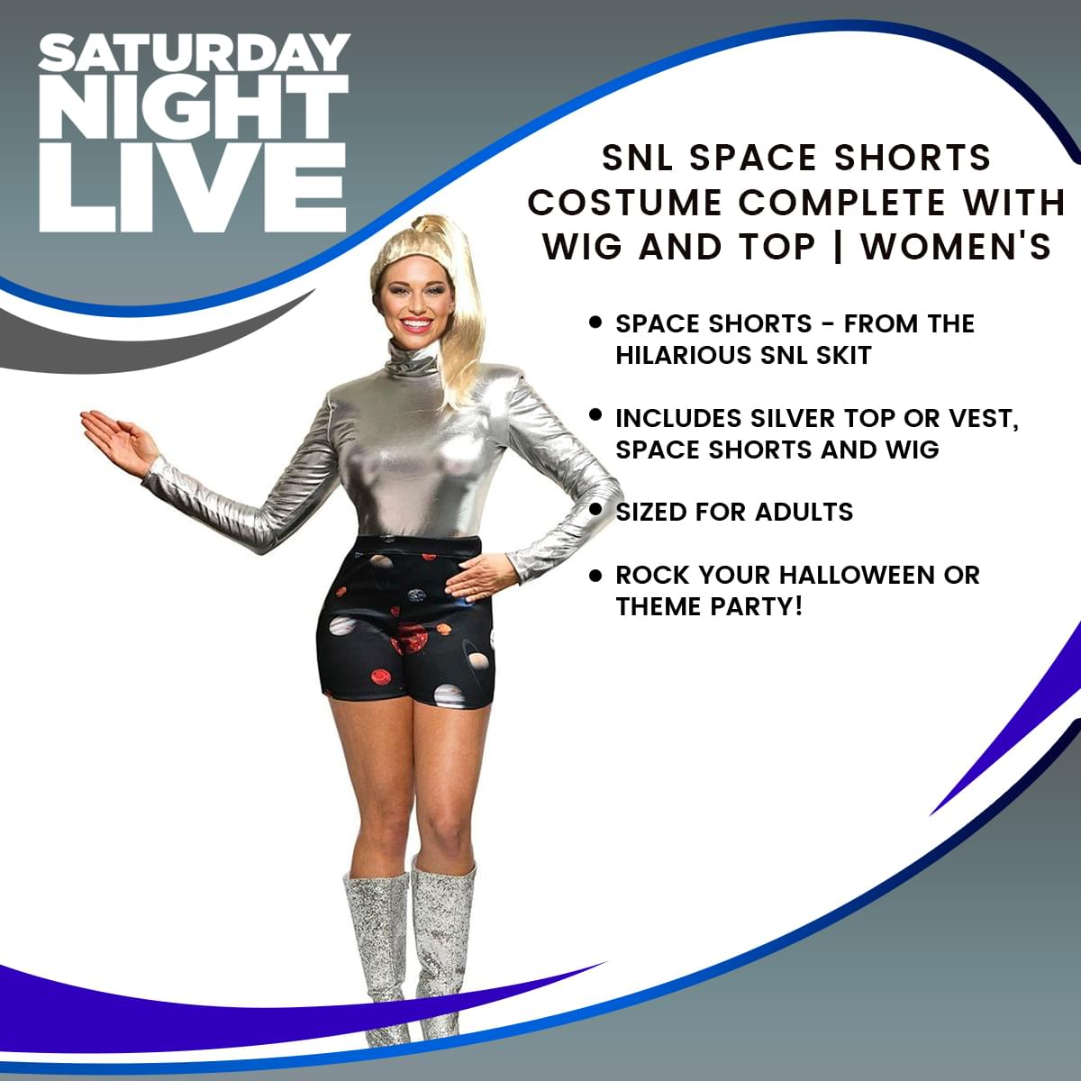 SNL Space Shorts Costume Complete with Wig and Top | Women's