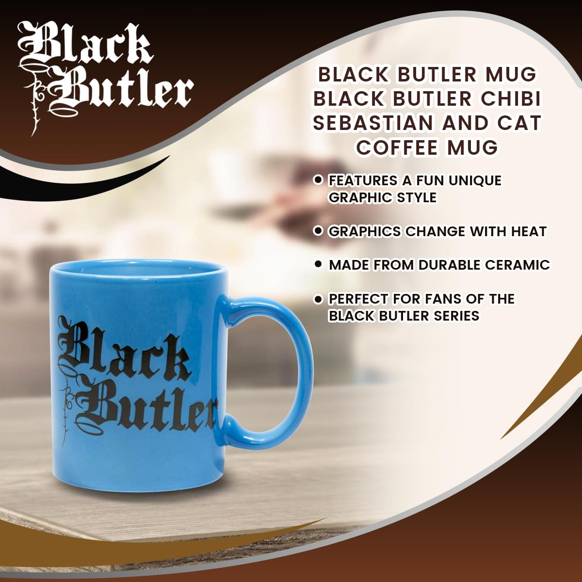 Black Butler Mug | Black Butler Chibi Sebastian and Cat Coffee Mug