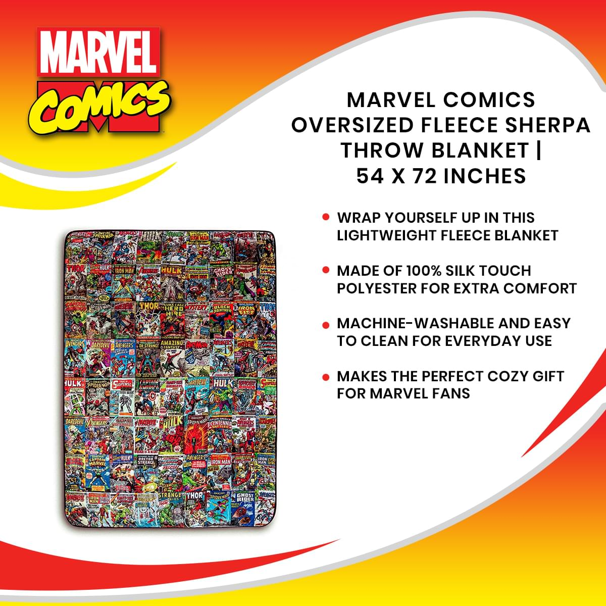 Marvel Comics Oversized Fleece Sherpa Throw Blanket | 54 x 72 Inches