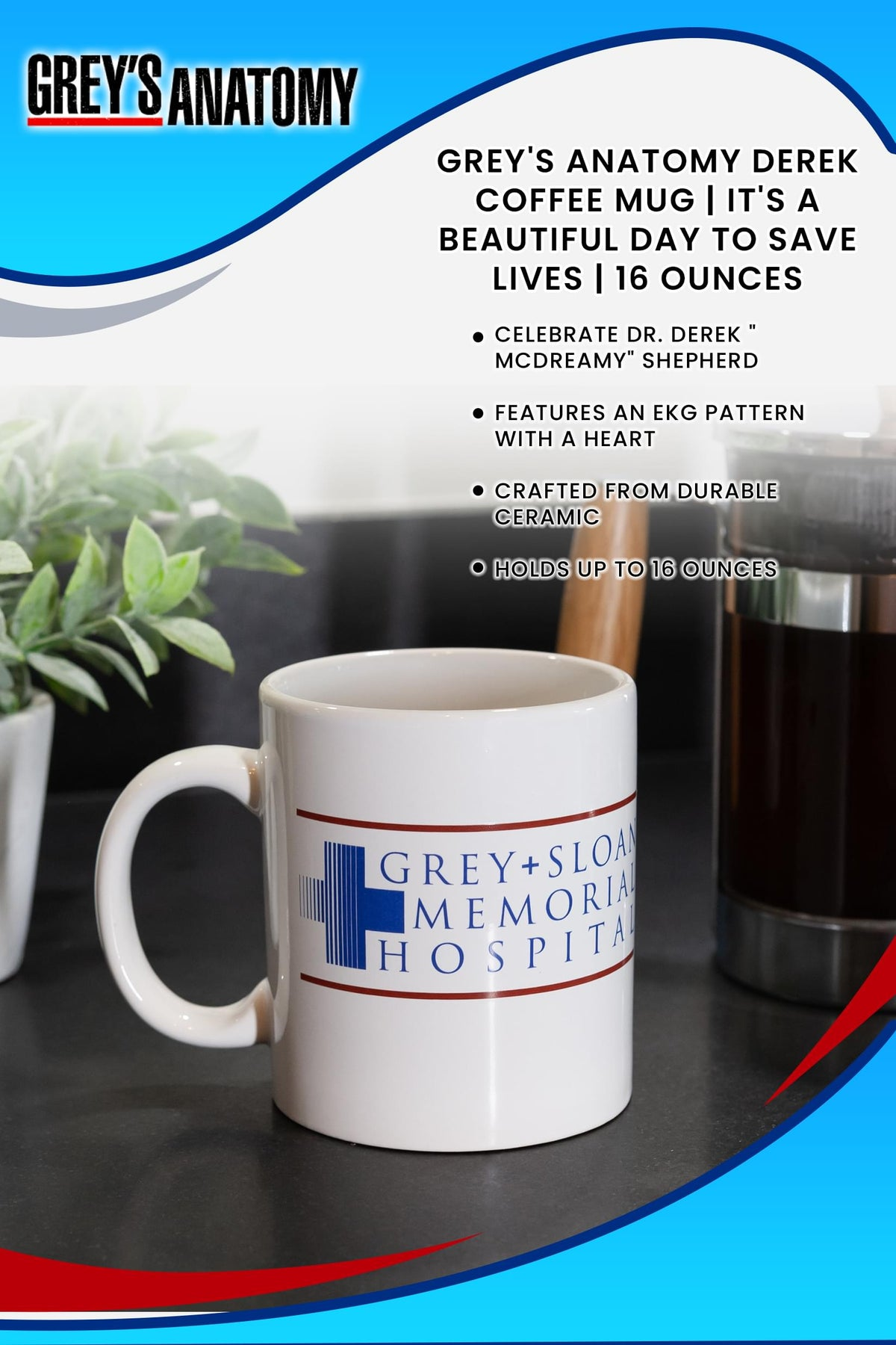 Greys Anatomy Derek Coffee Mug | It's A Beautiful Day To Save Lives | 16 Ounces