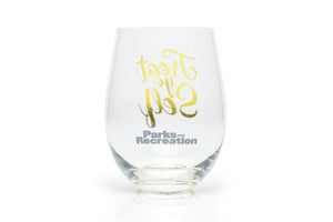 Parks and Recreation Treat Yo Self Stemless Wine Glass | Pink