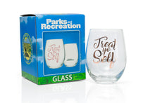 Load image into Gallery viewer, Parks and Recreation Treat Yo Self Stemless Wine Glass | Pink