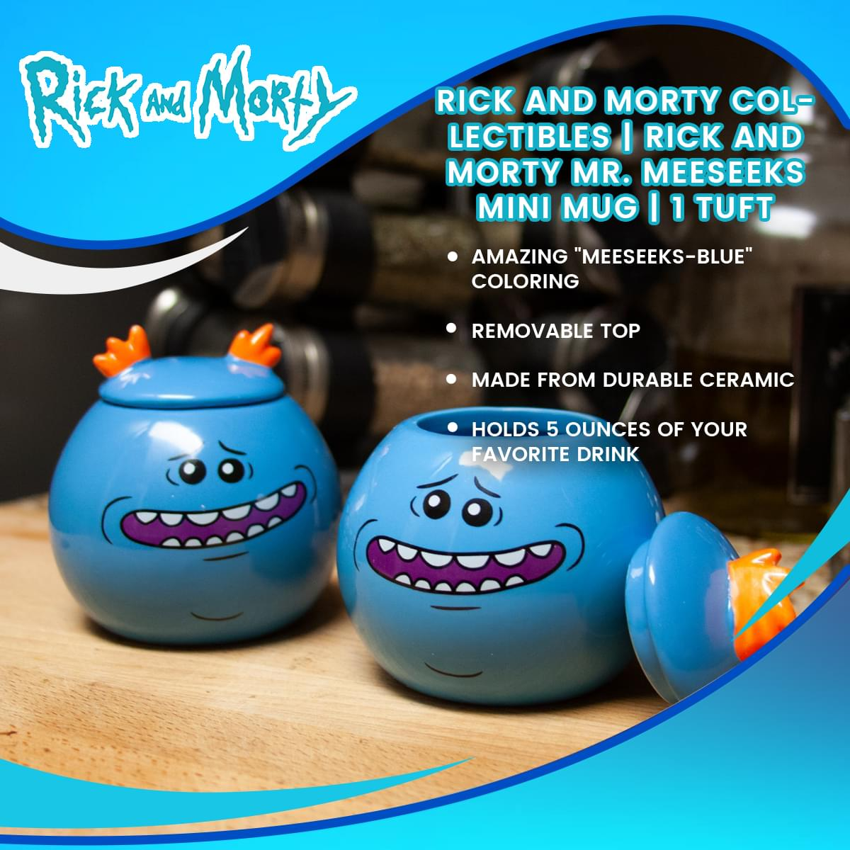 Rick and Morty Collectibles | Rick and Morty Mr. Meeseeks Mini Mug | 1 Tuft