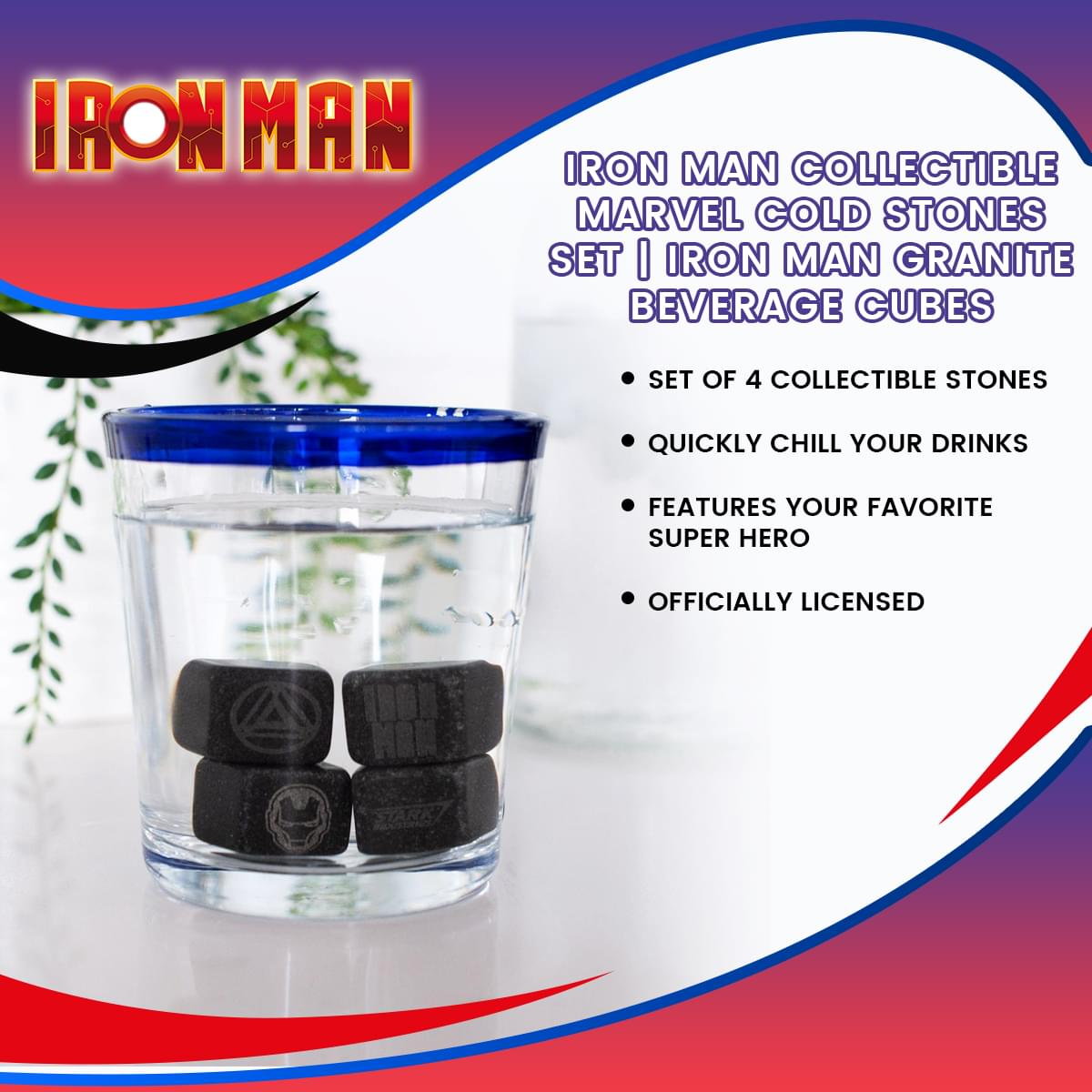 Iron Man Collectible | Marvel Cold Stones Set | Iron Man Granite Beverage Cubes