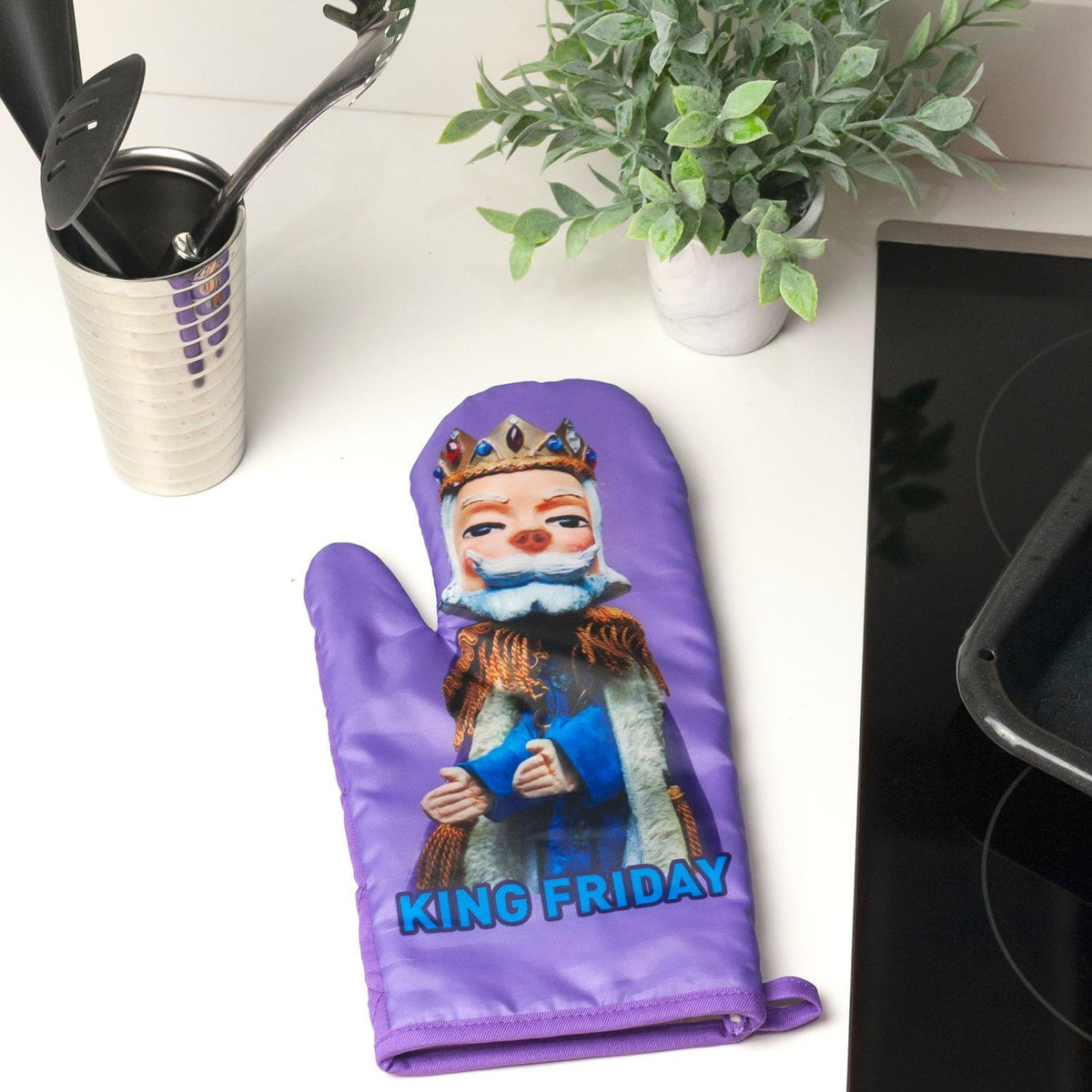 Mister Rogers Neighborhood King Friday Puppet Oven Mitt | TV Show Merchandise