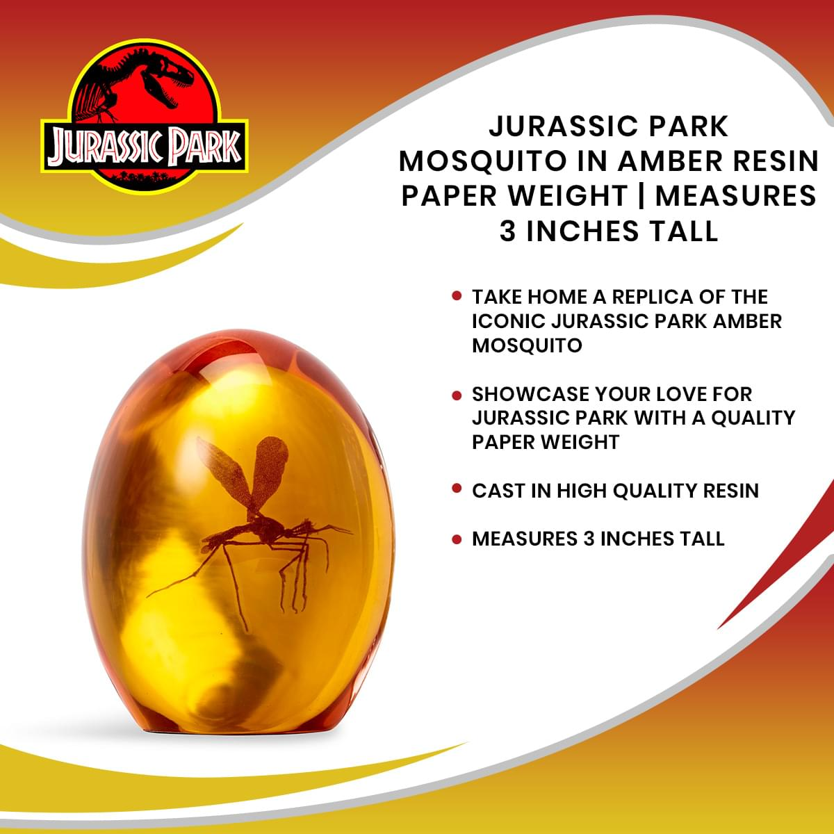 Jurassic Park Mosquito In Amber Resin Paper Weight | Measures 3 Inches Tall