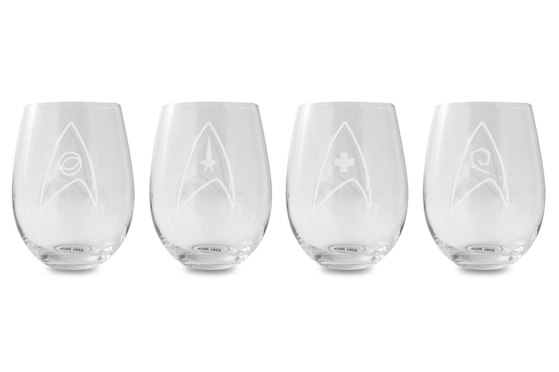Star Trek Stemless Wine Glass Etched Starfleet Insignia 20-Ounce Glasses | Set Of 4