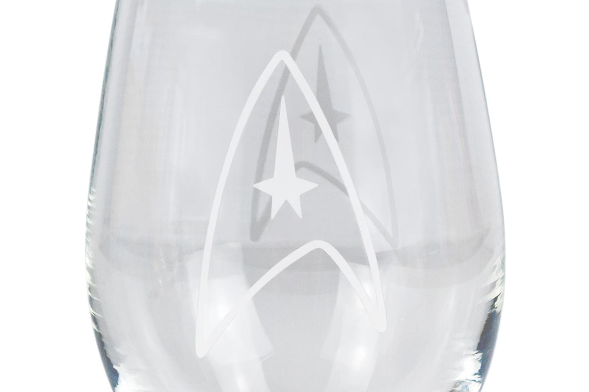 Star Trek Stemless Wine Glass Decorative Etched Command Emblem | Holds 20 Ounces