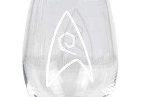 Star Trek Stemless Wine Glass Decorative Etched Engineering Emblem | Holds 20 Ounces