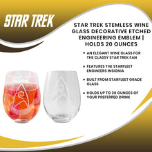 Load image into Gallery viewer, Star Trek Stemless Wine Glass Decorative Etched Engineering Emblem | Holds 20 Ounces