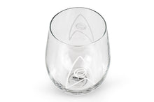 Load image into Gallery viewer, Star Trek Stemless Wine Glass Decorative Etched Sciences Emblem | Holds 20 Ounces