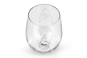 Star Trek Stemless Wine Glass Decorative Etched Sciences Emblem | Holds 20 Ounces