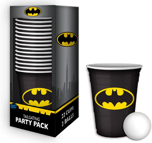 DC Comics Batman Logo 18oz Disposable Plastic Cups | 22 Pack w/ Pong Balls