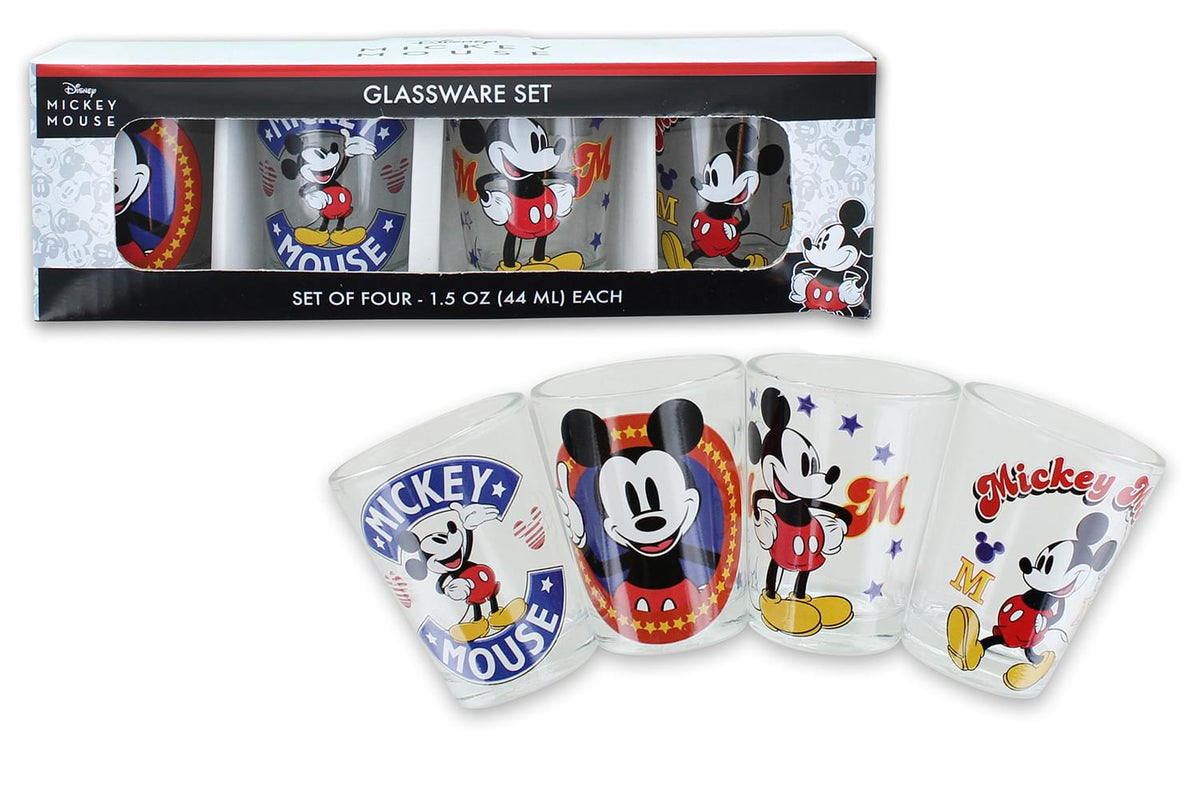 Disney Mickey Mouse Vintage Logos 4 Piece Mini Glass Set