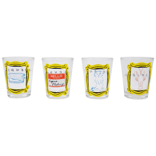 Friends Framed Quotes 4 Piece 1.5oz Shot Glass Set