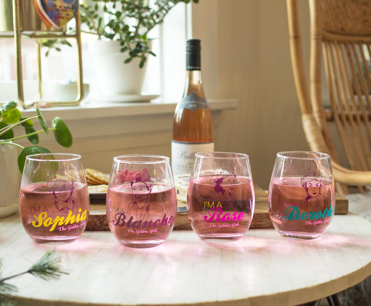 The Golden Girls Stemless Wine Glass Collectible Set of 4 | Each Holds 20 Ounces