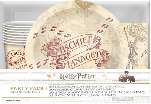 Harry Potter Marauders Map 60 Piece Party Tableware Set | Cups | Plates | Napkins