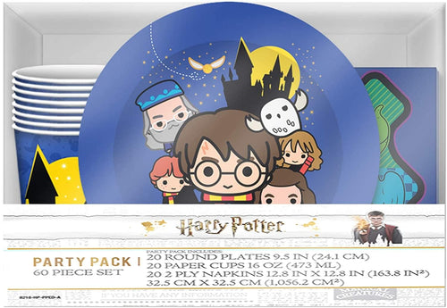 Harry Potter & Friends Chibi Styling 60 Piece Party Tableware Set | Cups | Plates | Napkins