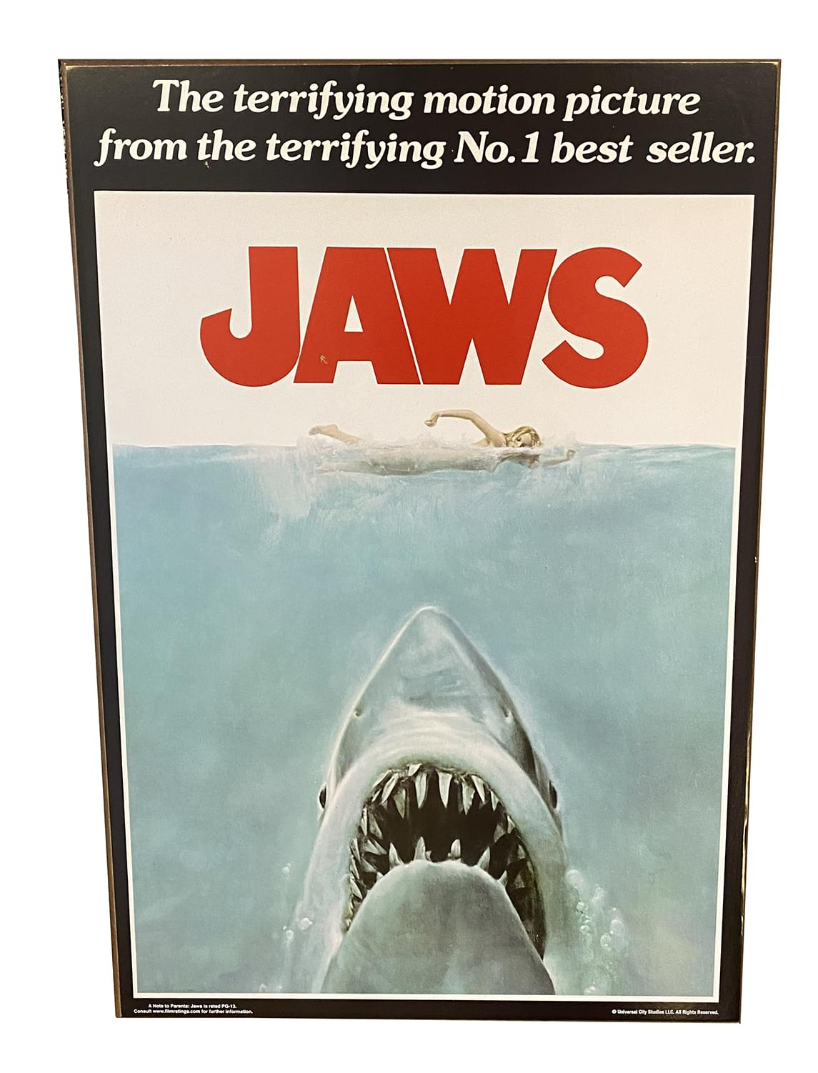 JAWS Movie Poster 13 x 19 Inch Printed Wood Wall Sign