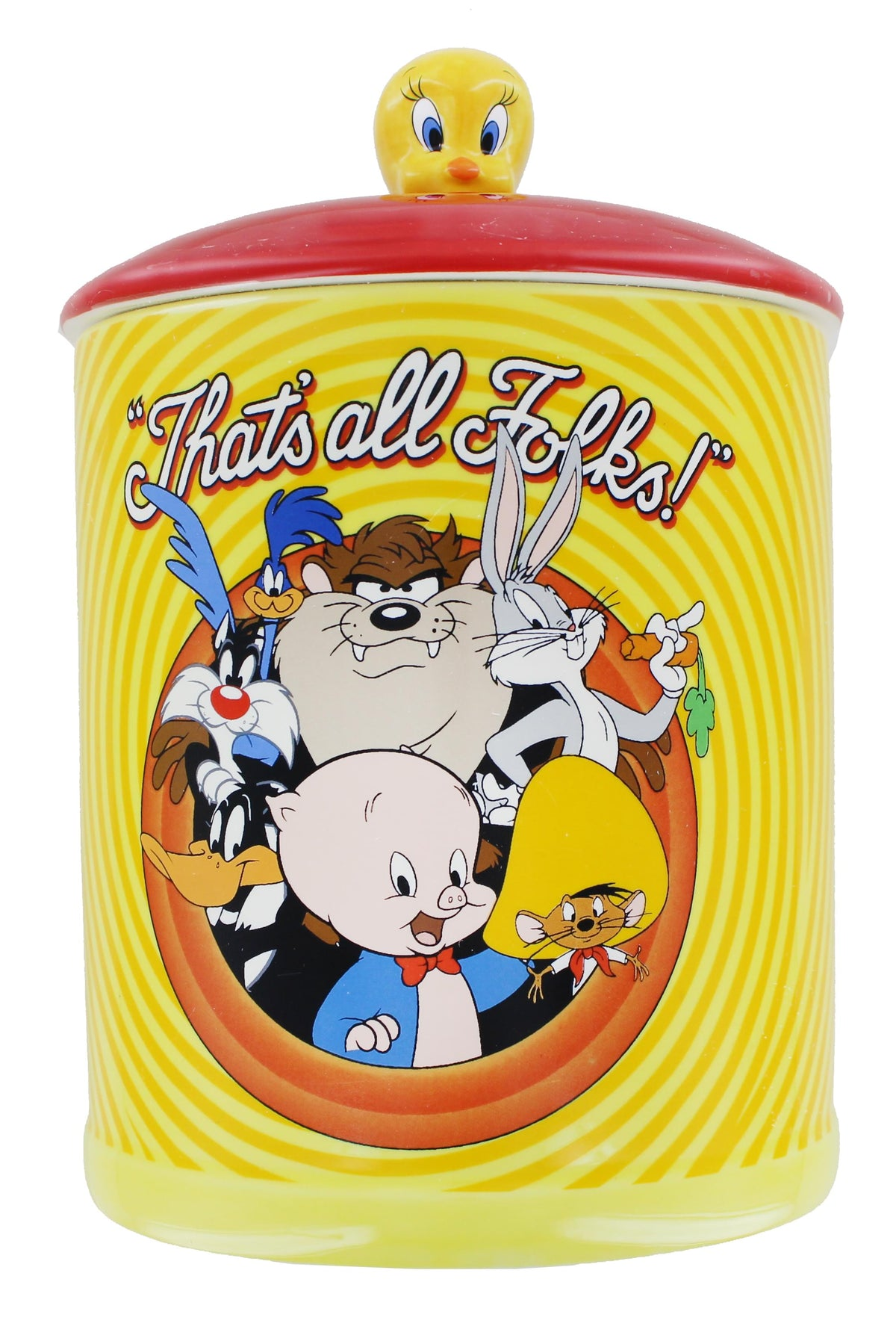 Looney Tunes Bullseye That's All Folks Large Canister Ceramic Cookie Jar