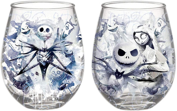 Nightmare Before Christmas Jack and Sally Glassware 4-Pack Standard Silver Buffalo