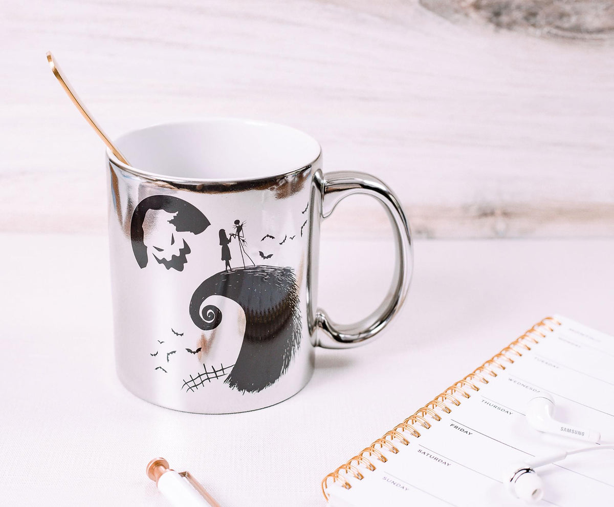 Nightmare Before Christmas Silver Electroplate Ceramic Mug | Holds 20 Ounces