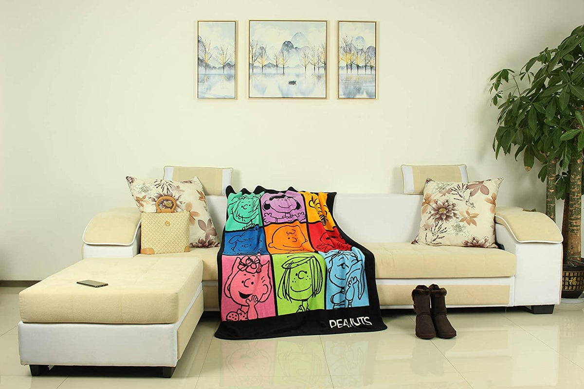 Peanuts Multicolor Character Grid 45 x 60 Inch Fleece Throw Blanket