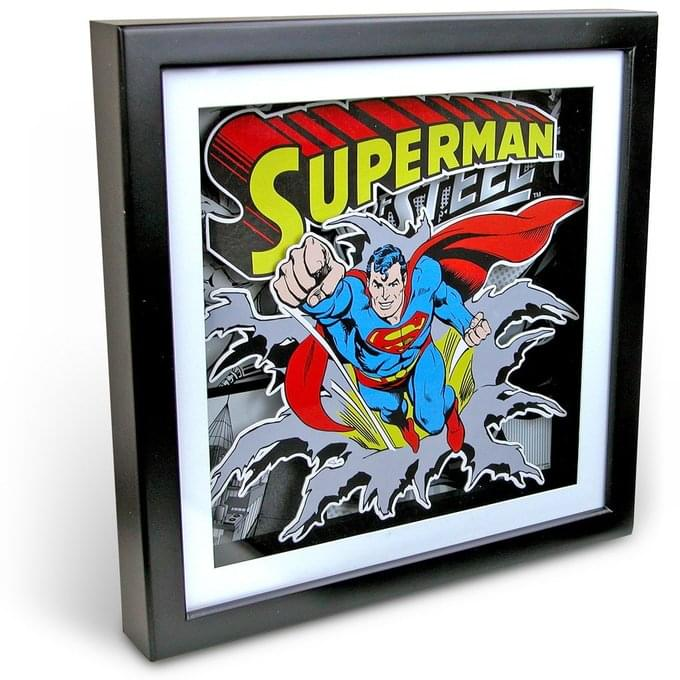 DC Comics Superman Flying 15 x 15 Inch Wood Shadow Box Wall Art