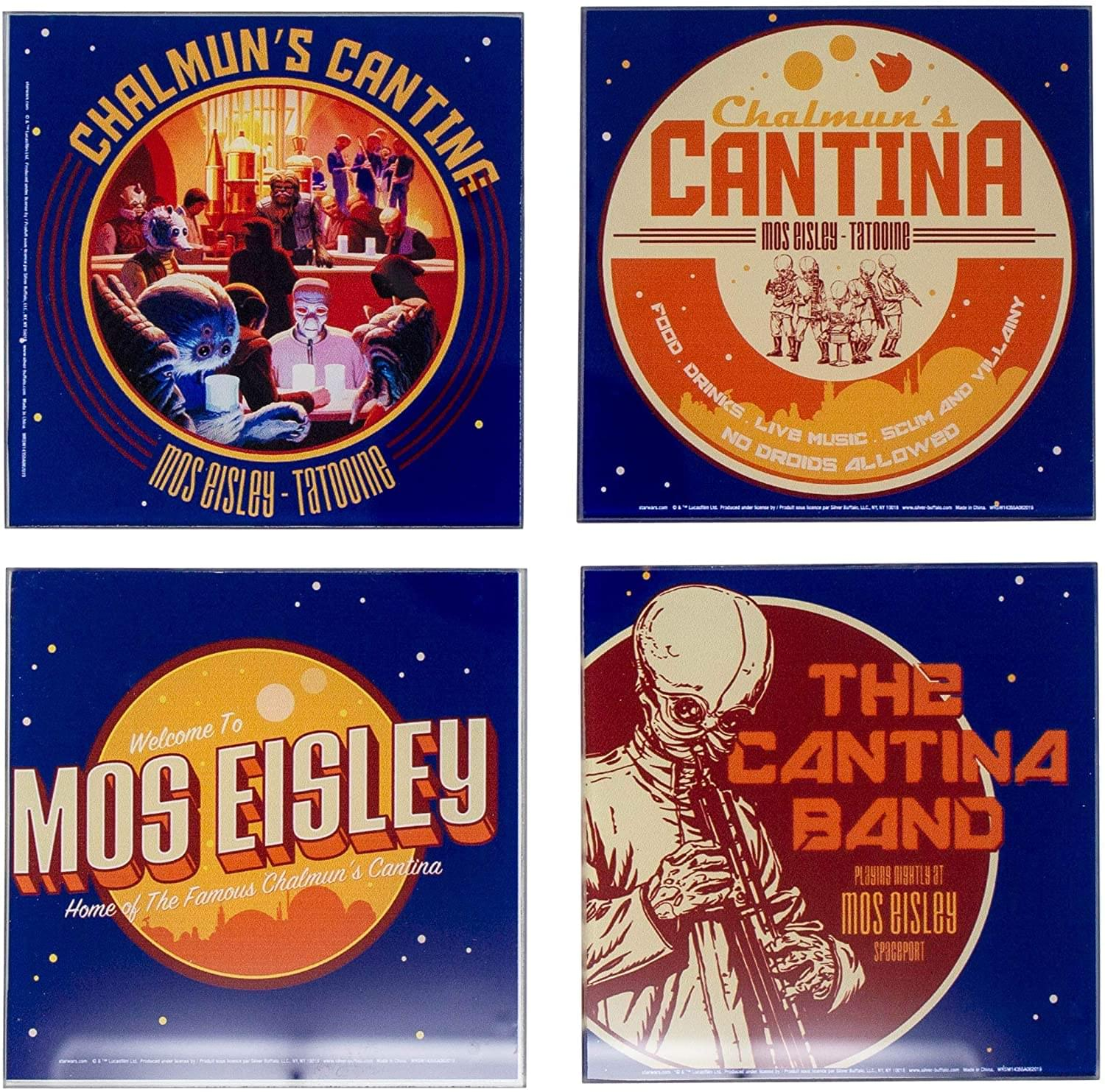 Star Wars Cantina 4 Piece Glass Drink Coaster Set