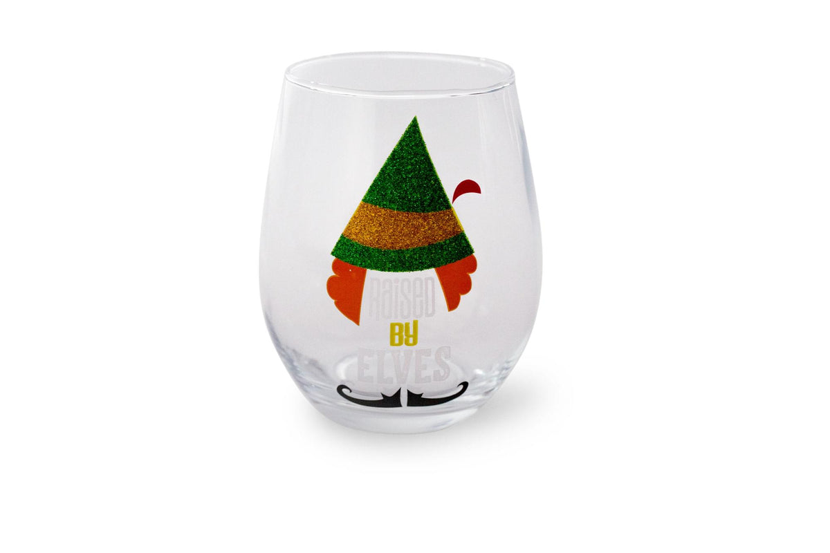 "Buddy the Elf ""Raised By Elves"" Stemless Glitter Glass 