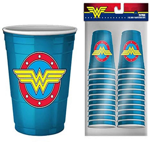 DC Comics Wonder Woman Logo 2oz Disposable Plastic Mini Cups | 20 Pack
