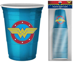 DC Comics Wonder Woman Logo 18oz Disposable Plastic Party Cups | 20 Pack