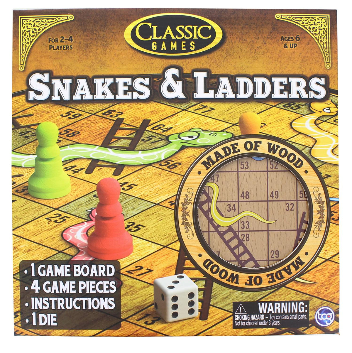 Classic Games Wood Snakes & Ladders Set |  Board & 4 Game Pieces