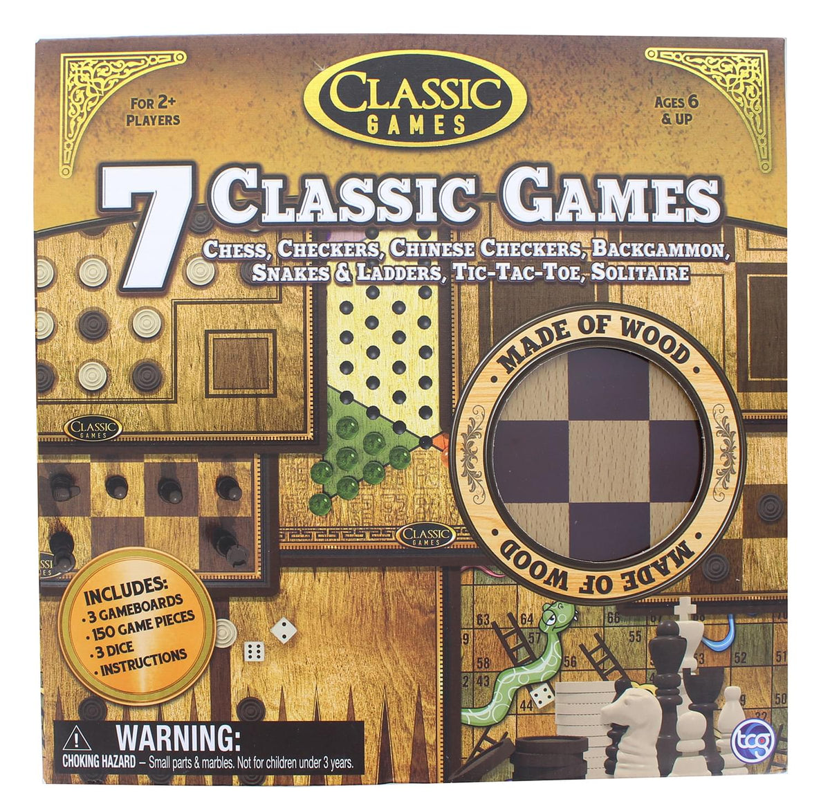 Classic Games Wood 7 Classic Games Set | 3 Boards & 150 Game Pieces